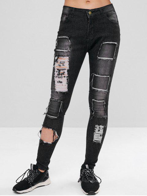 women Ripped and Repaired Pencil Jeans - DARK GRAY L Mobile
