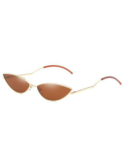 shop Novelty Slim Metal Frame Sunglasses - DARK GOLDENROD  Mobile