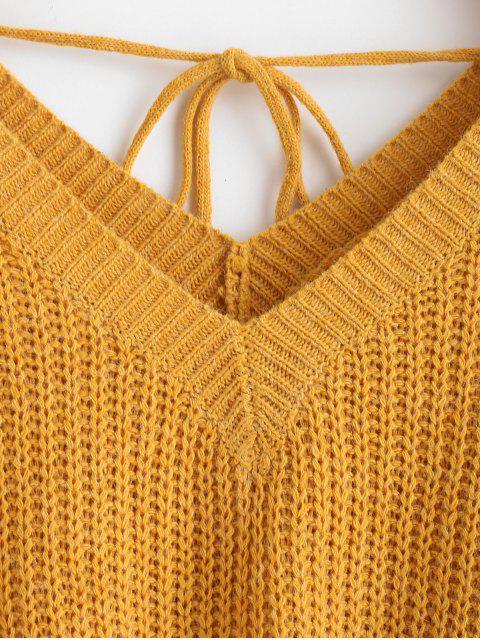 trendy Drop Shoulder V Neck Oversized Sweater - ORANGE GOLD S Mobile