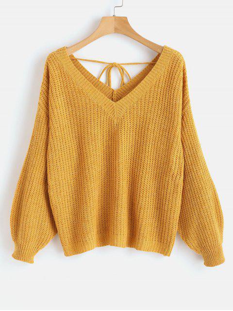 Suéter de gran tamaño con cuello caído y escote en V - Oro Anaranjado M Mobile