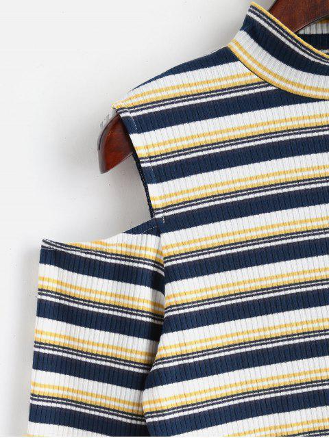 sale ZAFUL Cut Out Shoulder Long Sleeve Mock Neck Tee - MULTI L Mobile