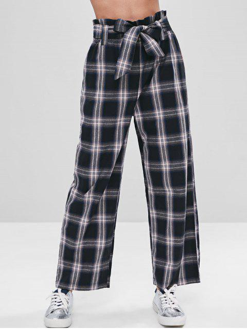 sale ZAFUL Belted Wide Leg Plaid Pants - BLACK M Mobile