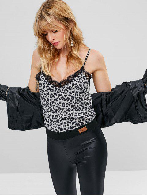 affordable ZAFUL Lace Insert Leopard Tank Top - LEOPARD S Mobile