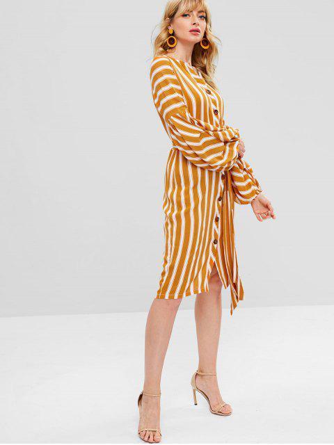 ZAFUL Long Lantern Sleeve Striped Button Dress - Orange L Mobile