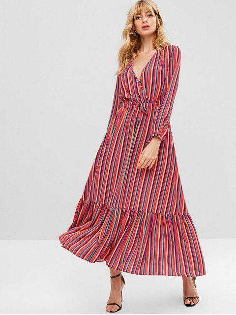 fashion ZAFUL Long Sleeve Striped Maxi Dress - MULTI L Mobile