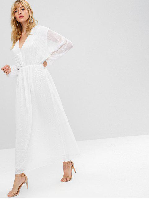 outfits ZAFUL Long Sleeve Dotted Maxi Dress - WHITE M Mobile