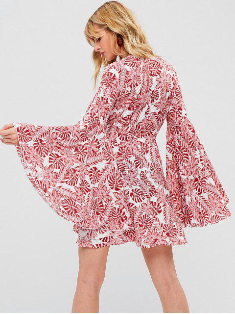 ladies ZAFUL Tropical Print Bell Sleeve Dress - RED L Mobile