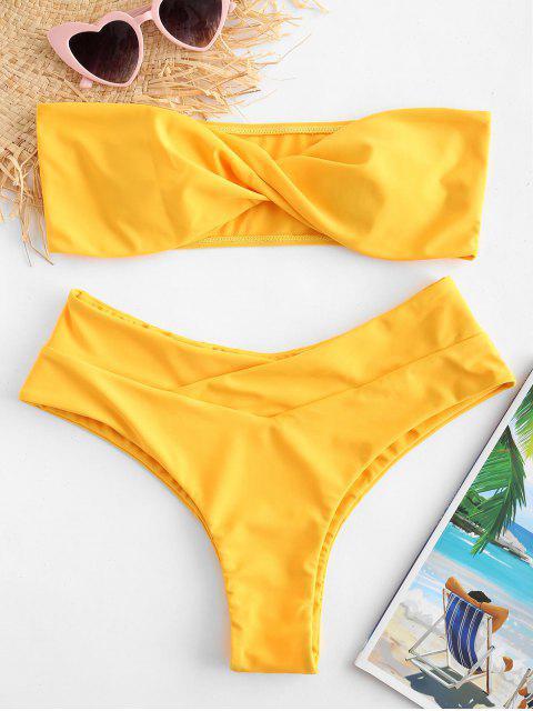 Ensemble de bikini à jambe haute et bandeau torsadé ZAFUL - Jaune Clair M Mobile