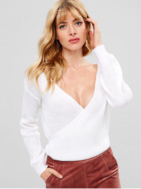 Suéter de Surplice que se hunde - Blanco Talla única Mobile