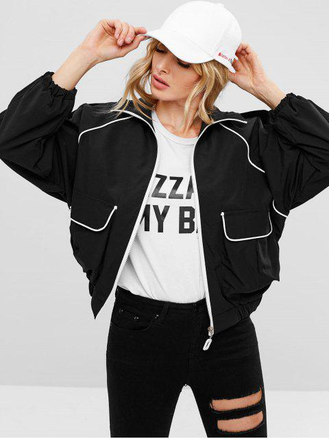 chic Contrasting Binding Oversized Jacket - BLACK ONE SIZE Mobile