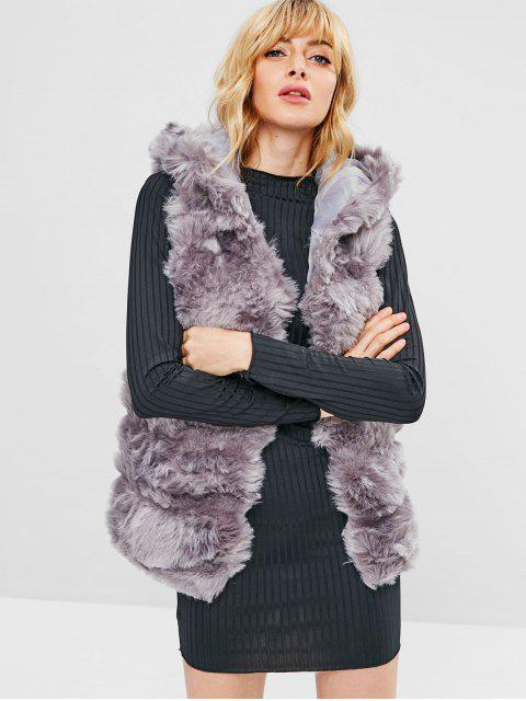sale Open Front Faux Fur Waistcoat - SMOKEY GRAY ONE SIZE Mobile