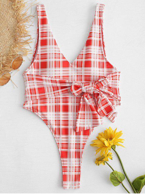 ZAFUL Tartan Knotted Backless traje de baño de una pieza - Rojo M Mobile