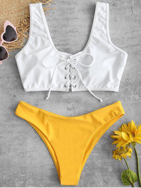 latest ZAFUL Lace Up Color Block Bikini Set - BRIGHT YELLOW L Mobile