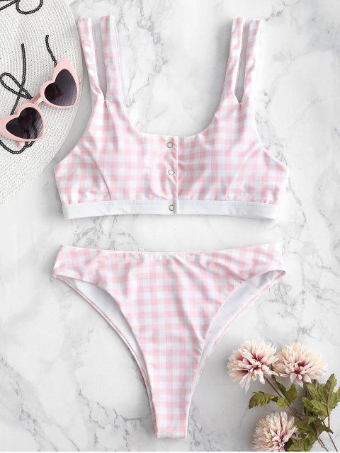 shop ZAFUL Plaid Snap-button Tank Bikini Set - MULTI L Mobile