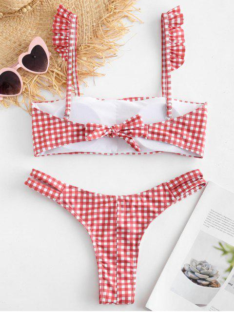 new ZAFUL Plaid Ruffle Cutout Bikini Set - MULTI L Mobile