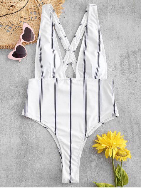 women's ZAFUL Striped Criss Cross Plunging Swimsuit - WHITE M Mobile