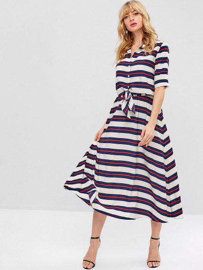 8132e17e3ec ZAFUL Striped Knotted Flare Skirt Set - Multi L