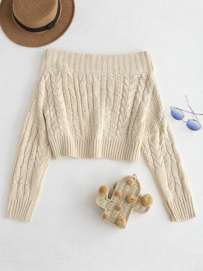 ... Chunky Cable Knit Off Shoulder Sweater - Beige 8125ad3f0