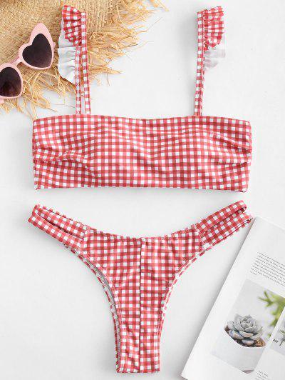 9783565a38a2a ZAFUL Plaid Ruffle Cutout Bikini Set - Multi S