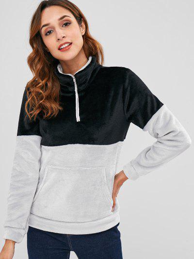 Half Zip Two Tone Velvet Sweatshirt - Black S