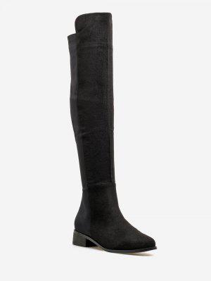 Low Heel Suede Oberschenkel Hohe Stiefel