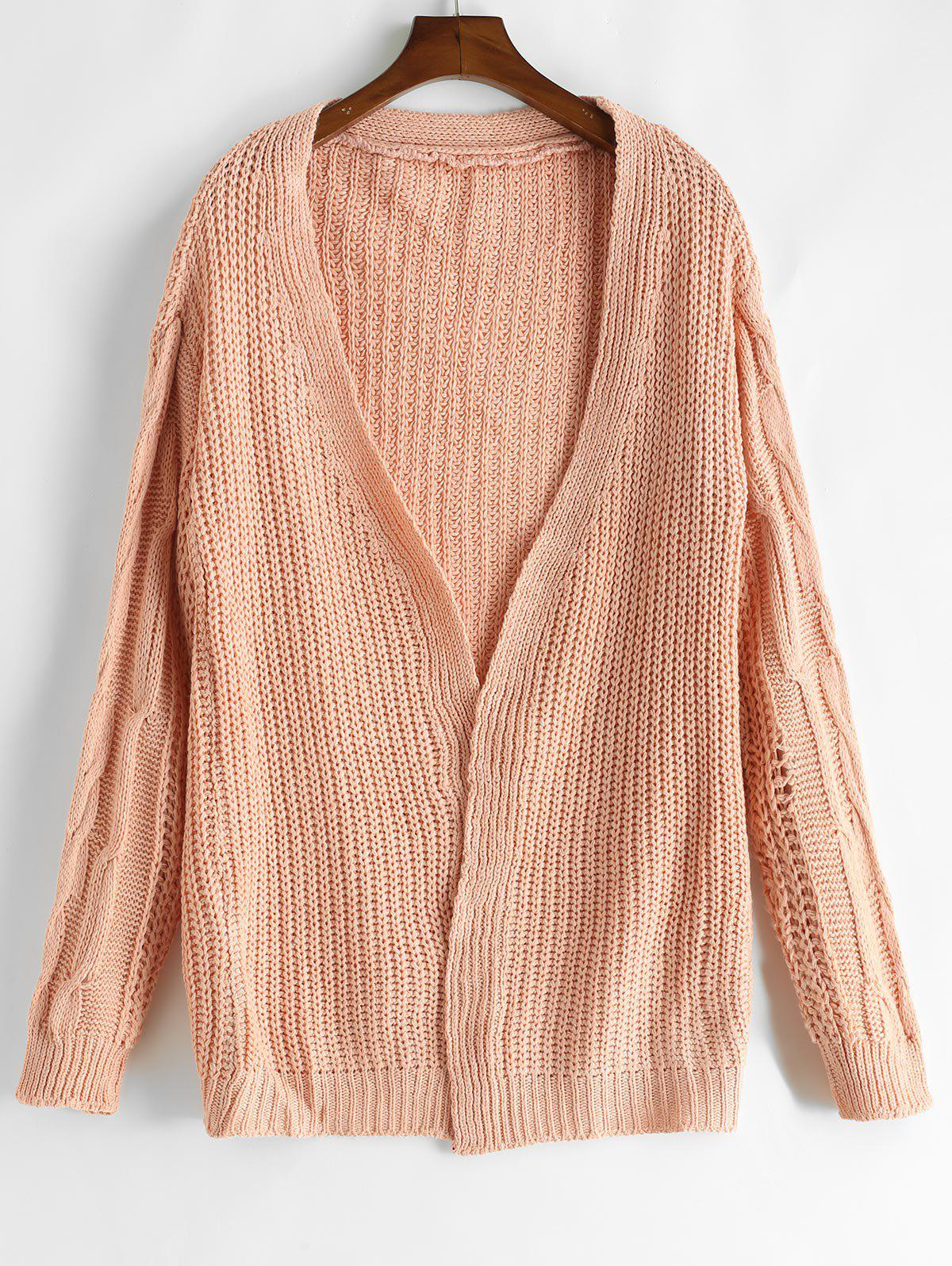 Loose Fitting Solid Color Crochet Cardigan