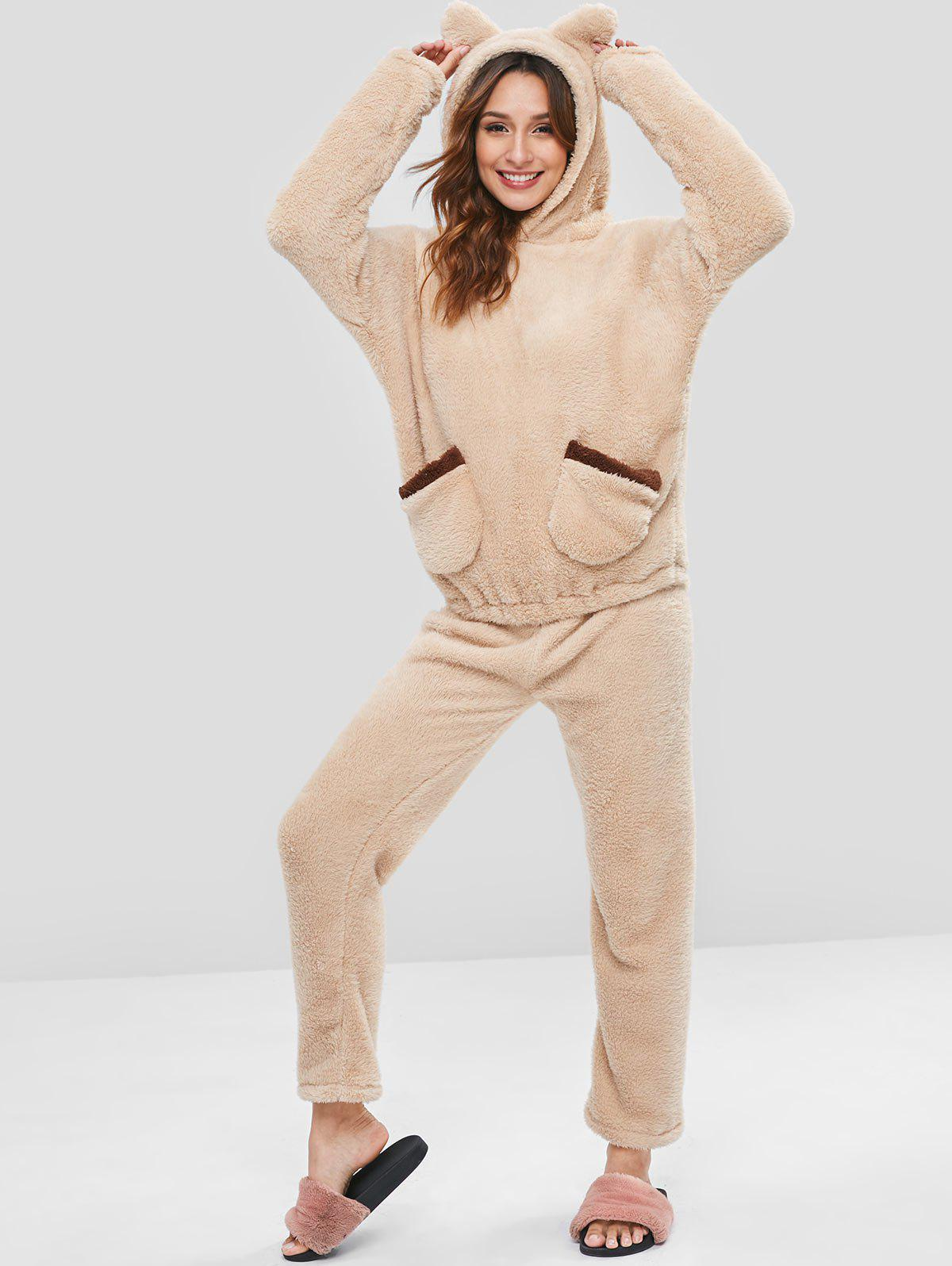 Front Pockets Faux Lamb Hoodie and Pants Pajama Set