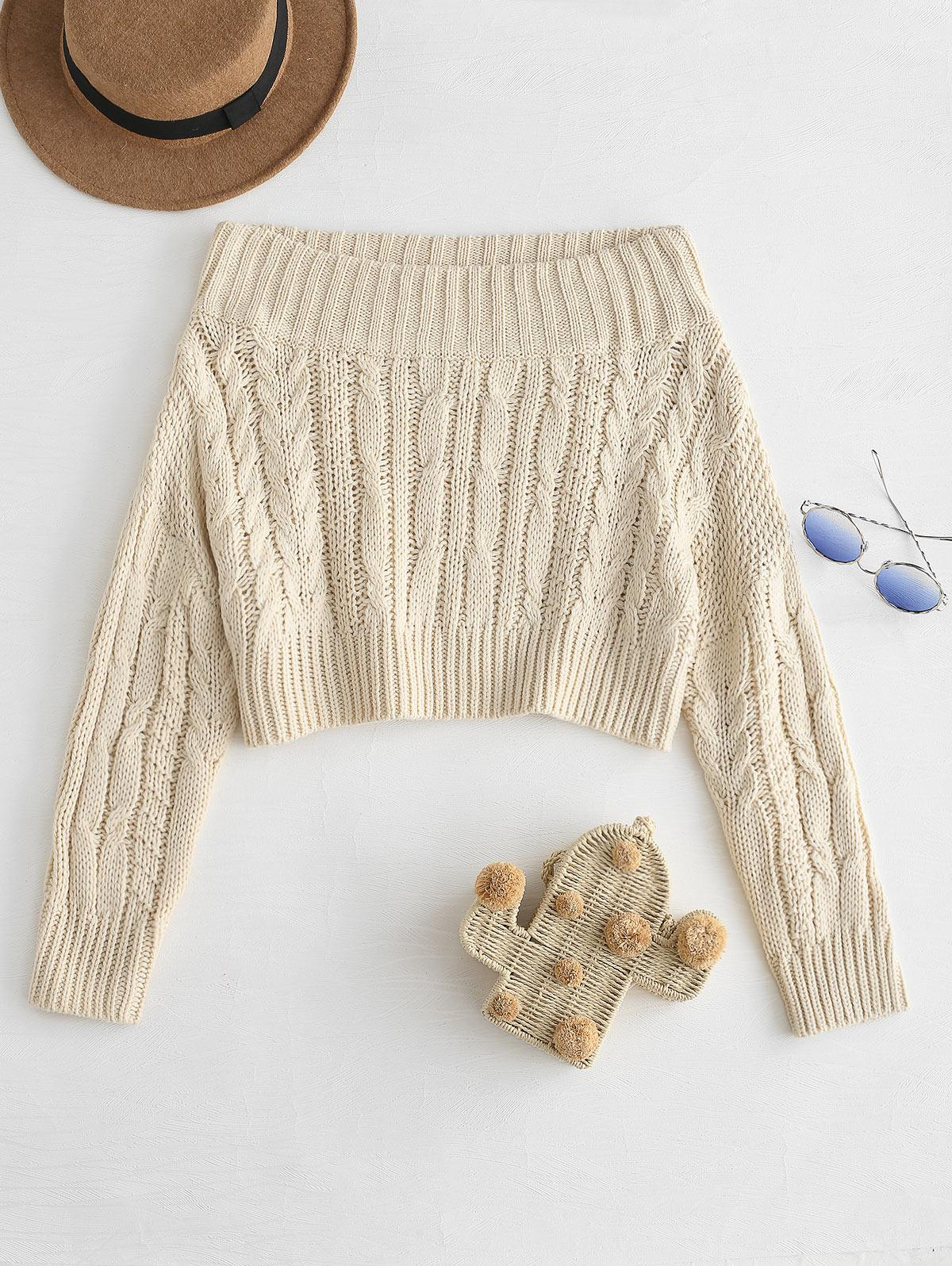 Chunky Cable Knit Off Shoulder Sweater