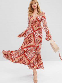 ZAFUL Scarf Print Maxi Wrap Dress - متعدد S