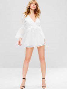 a9eff5865a5b ... Floral Lace Plunging Romper. outfits Floral Lace Plunging Romper - WHITE  S