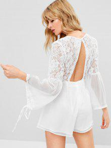 0419c4203b0e 68% OFF  2019 Floral Lace Plunging Romper In WHITE S
