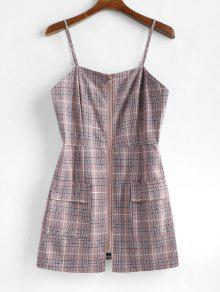 منقوشة زيبر ميني فستان ميدا - أحمر الشفاه الوردي M