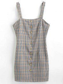 زر منقوشة أسفل فستان - اللون الرمادي M