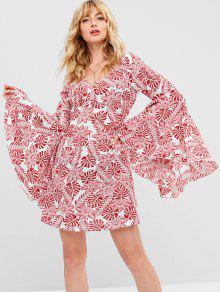 ZAFUL Tropical Print Bell Sleeve Dress - أحمر L