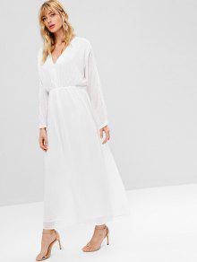 2e1a1692d9c2 26% OFF] 2019 ZAFUL Long Sleeve Dotted Maxi Dress In WHITE   ZAFUL