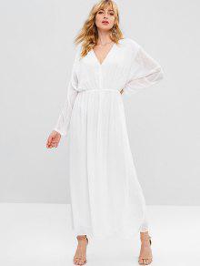 ZAFUL كم طويل منقط فستان ماكسي - أبيض L
