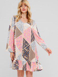 ZAFUL كم طويل فستان طباعة سوينغ الطباعة - متعدد M
