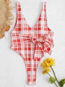 ZAFUL Tartan معقود عارية الذراعين قطعة واحدة ملابس السباحة - أحمر L