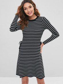 24% OFF  2019 Contrast Lace Up Striped Sweater Dress In BLACK ONE ... ce4836917