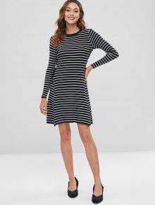 ... Contrast Lace Up Striped Sweater Dress. latest Contrast Lace Up Striped  Sweater Dress - BLACK ONE SIZE 7f270019a