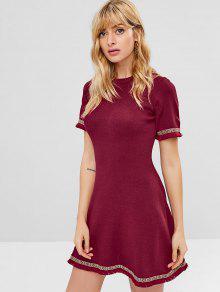 فستان قصير بأكمام قصيرة مع حواف - نبيذ احمر M