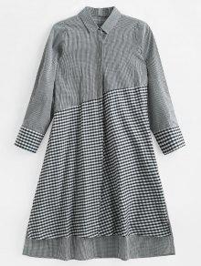 فستان بنقشة تيشيرت متوسط الطول من Gingham - متعدد S