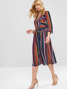 b9512ee6a222 35% OFF  2019 Colorful Stripe Button Through Midi Dress In MULTI