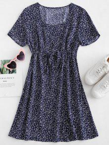 ZAFUL الرباط Tiny الأزهار البسيطة اللباس - منتصف الليل الأزرق L