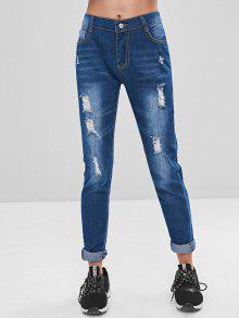 جيوب مزينة بنطلون جينز ممزق - أزرق L