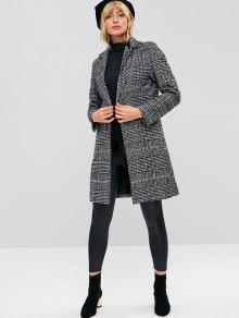 Houndstooth تويد معطف الشتاء - متعدد L