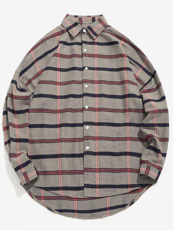 Camisa solta de impressão xadrez casual - Caqui M