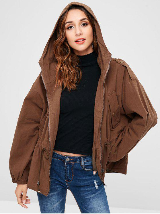 3d4eee0f3a61 30% OFF  2019 Hooded Drop Shoulder Jacket In CHOCOLATE