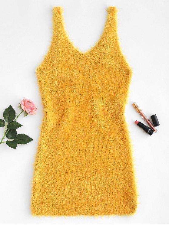 unique Low Cut Fuzzy Knit Tank Dress - GOLDEN BROWN L