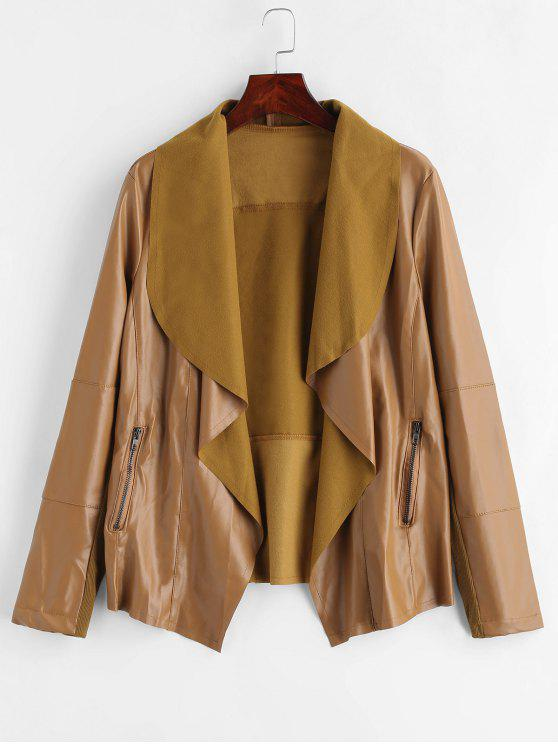 affordable Open Front PU Leather Jacket - DARK GOLDENROD L